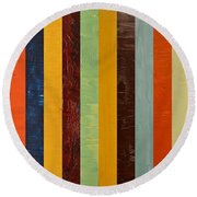 Panel Abstract Lll  Round Beach Towel by Michelle Calkins