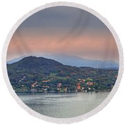 Panorama Lake Maggiore Round Beach Towel