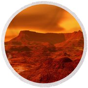 Panorama Of A Landscape On Venus At 700 Round Beach Towel