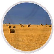 Panoramic Of A Straw Field, Near Val Round Beach Towel