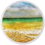 Panoramic Seaside At Tulum Round Beach Towel by Tammy Wetzel