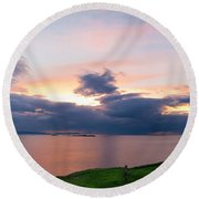 Panoramic View From Dunluce Castle Round Beach Towel