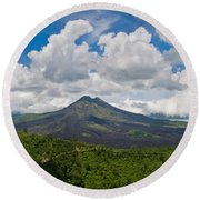 Panoramic View Of A Volcano Mountain  Round Beach Towel