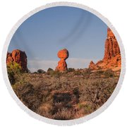 Panoramic View Of Balance Rock                                                       Round Beach Towel