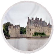 Panoramic View Of Chateau De La Bretesche Round Beach Towel
