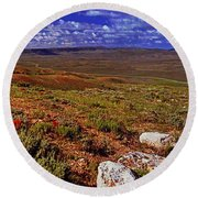 Panoramic View Of Fossil Butte Nm Valley Round Beach Towel