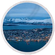 Panoramic View Of Tromso In Norway  Round Beach Towel