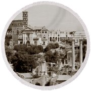 Panoramic View Via Sacra Rome Round Beach Towel