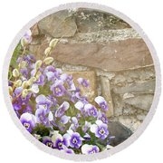 Pansies And Pussywillows Round Beach Towel