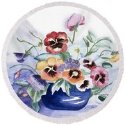 Pansies In Blue Pot Round Beach Towel