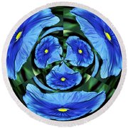 Pansy In Triplicate Round Beach Towel