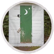 Paper Moon Outhouse Round Beach Towel