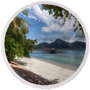 Paradise Island Round Beach Towel by Adrian Evans