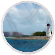 Paradise Island Lighthouse Round Beach Towel