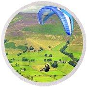 Paragliding Off Mam Tor 01 Round Beach Towel