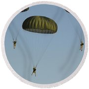 Paratroopers Descend Through The Sky Round Beach Towel