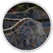 Parc Guell Barcelona Round Beach Towel