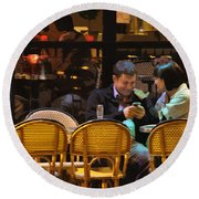 Paris At Night In The Cafe Round Beach Towel
