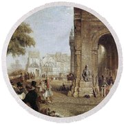 Paris: Book Stalls, 1843 Round Beach Towel