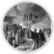 Paris: Burning Of Heretics Round Beach Towel