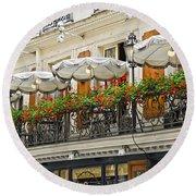 Paris Cafe Round Beach Towel by Elena Elisseeva