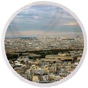 Paris City View Round Beach Towel