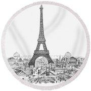 Paris Exhibition, 1889 Round Beach Towel