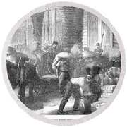 Paris: Les Halles, 1870 Round Beach Towel