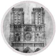 Paris: Notre Dame, 1848 Round Beach Towel