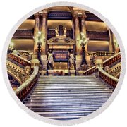 Paris Opera House Vii  Grand Stairway Round Beach Towel