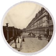 Paris: Rue De Rivoli, C1900 Round Beach Towel