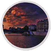 Paris Sundown Round Beach Towel