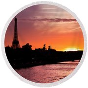 Paris Sunset Round Beach Towel