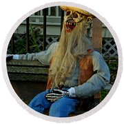Park Bench Ghoul Round Beach Towel