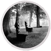 Park Bench In Black And White Round Beach Towel