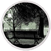 Park Benches In Autumn Round Beach Towel by Joana Kruse