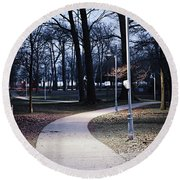 Park Path At Dusk Round Beach Towel