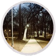 Park Path At Night Round Beach Towel by Elena Elisseeva
