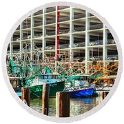 Parked Round Beach Towel by Barry Jones