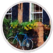 Parked Bicycle Round Beach Towel
