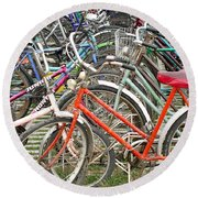 Parking Bicycles In Mako Round Beach Towel