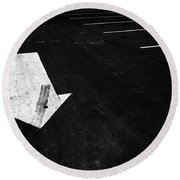 Parking Lot Pavement Arrow Number 1 Round Beach Towel