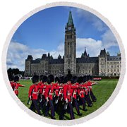 Parliament Building Ottawa Canada  Round Beach Towel by Garry Gay