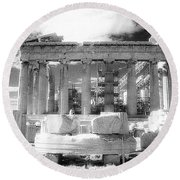 Parthenon Infrared Round Beach Towel