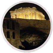 Parthenon Athens Round Beach Towel