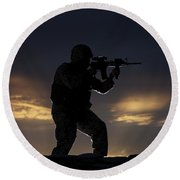 Partially Silhouetted U.s. Marine Round Beach Towel by Terry Moore