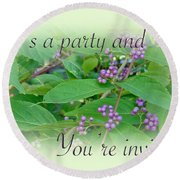 Party Invitation - General - American Beautyberry Shrub Round Beach Towel by Mother Nature