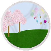 Party Over The Hill Round Beach Towel
