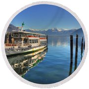 Passenger Ship Reflected On The Water Round Beach Towel