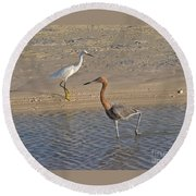 Passing Egrets Round Beach Towel